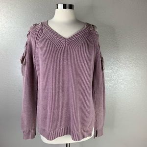 Umgee Distressed Liliac Lace Up Sleeves Sweater